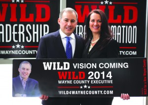 Westland Mayor Bill Wild, 45, announced his candidacy for Wayne County Executive. Bill and his wife Sherri are holding a sample of one of the billboards Wild will have around Wayne County.