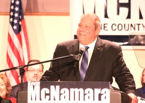 Kevin M. McNamara announces at Wayne County Community College that he will run for Wayne County Executive.