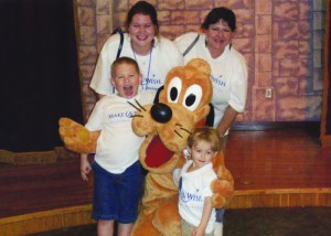 On their Make-a-Wish trip to Florida Sarah, her mom and the boys got to meet many Disney characters.