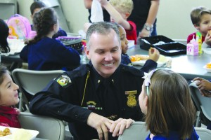Rob Puckett enjoyed visiting with St. Mary students during their lunchtime.
