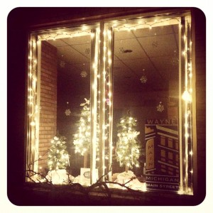 Wayne Main Street Office window is decorated for the  1st Annual Holiday Window Display Contest.