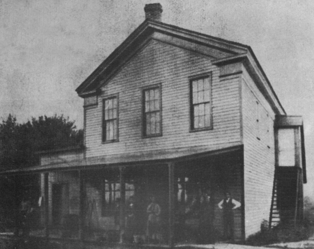 J.D. Bunting's General store was built around 1840 and was a long time landmark in Wayne until it burned in 1907. People came from far and wide to purchase everything from flour and wood to paint and ribbons.