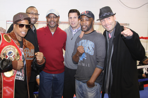 "NorWayne Boxing Gym Grand Opening. Jeff Styers (center in gray sweater) with 5 World Champions from left to right, Light Middleweight Champion Cornelius ""K9"" Bundrage, Milton McCrory, Hilmer Kenty, Jeff Styers, Jimmy Paul and Bronco McKart."