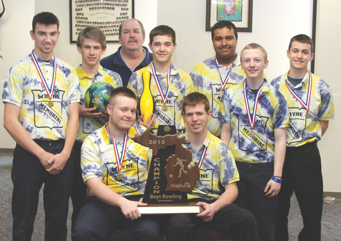 The Wayne Memorial High School State champion bowling team (Front) Brandon June and Conner Weber (Back) Jarett O'Chel, Brennen Maladonado, Coach Bob Jawor, John Willet, Brenden Przeklasa, Zachary Fightmaster and Ty Weber. Photo by John Rhaesa