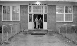 The front doors of the old recreation building.