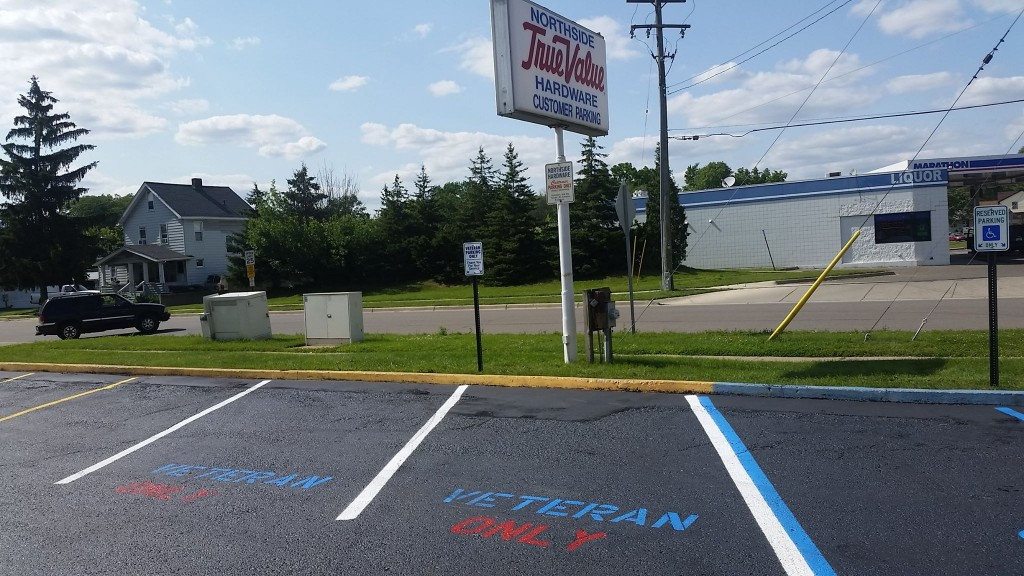Northside Hardware now has two parking spots for Military Veterans.