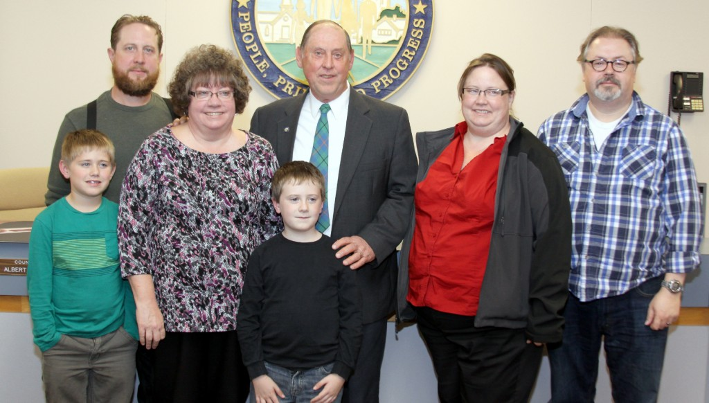 Albert's family: Connor, David, Sue, Peter, Albert, Amy and Mike at his last meeting as councilman in the City of Wayne on November 4, 2015.