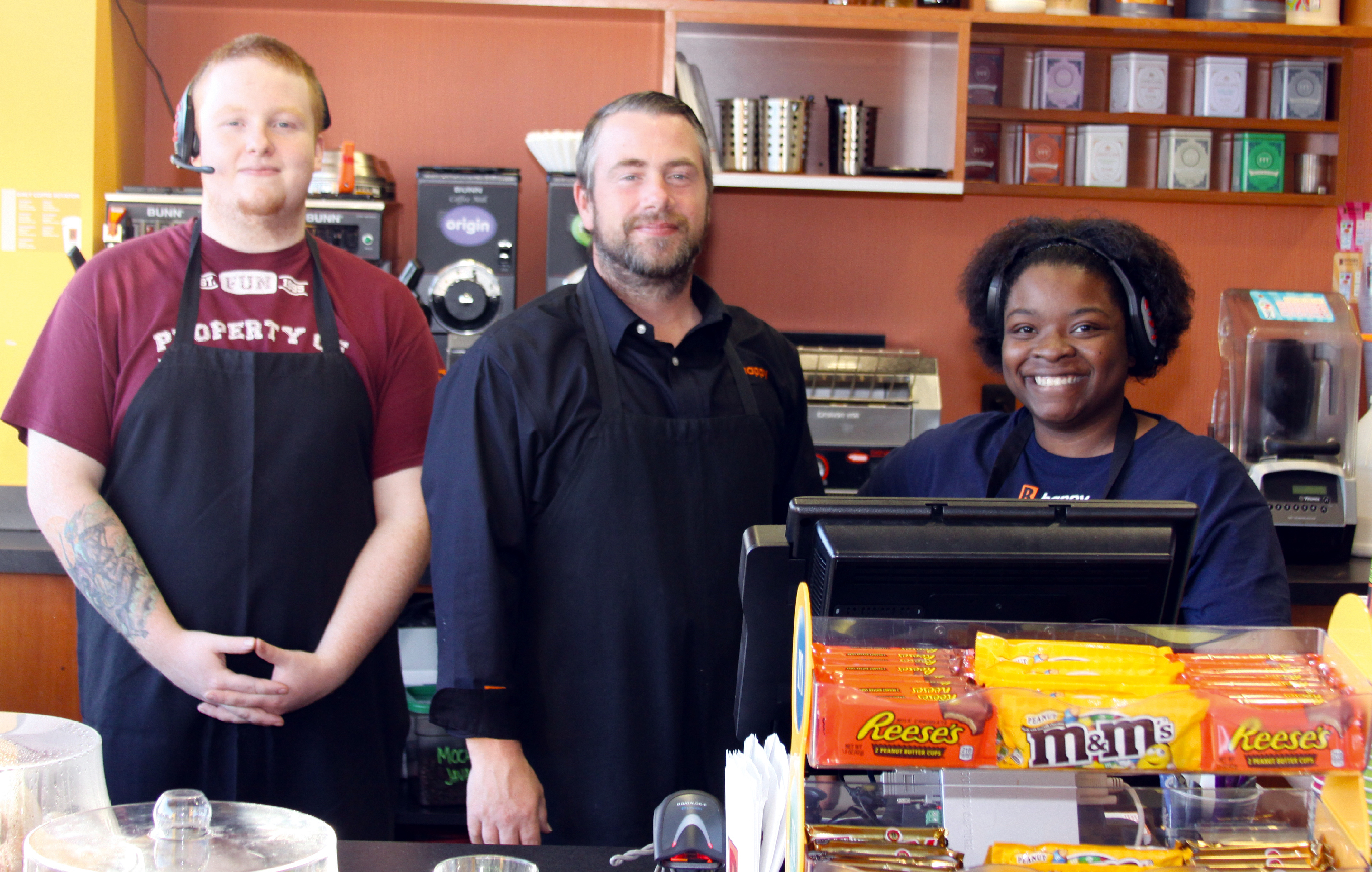 Biggby Coffee's Austin Hanner, Derek Shear and Destiny Walker at ready to serve you a fresh beverage.