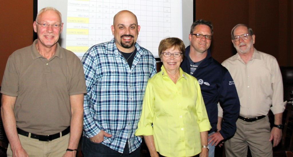 And the winners are... Councilman Anthony Miller, Councilman John Rhaesa, Mayor Susan Rowe, Councilman Christopher Sanders and Councilman Tom Porter at the Avenue Downtown Wayne after learning they had won seats on the City Council. Photo by Mike Londeau