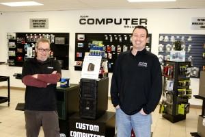Bill Turner and Brian Ewanciw (owner) of Icon Computers have a full line of parts and accessories for all computers.