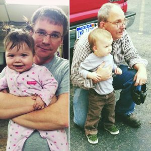 John with his grandson. Bill with his daughter. (Photos taken before the accident).