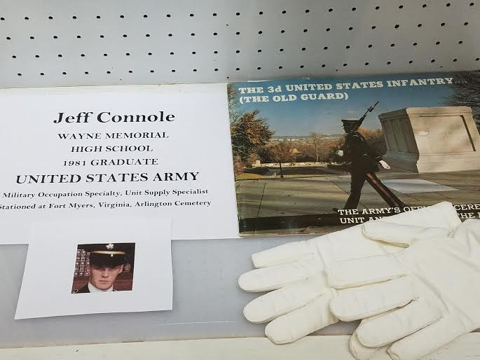 Jeff Connole has some of his military items in the display case from when he was a Supply Sergeant in the 1980s at the Tomb of the Unknown Soldier at the Wayne Historical Museum.