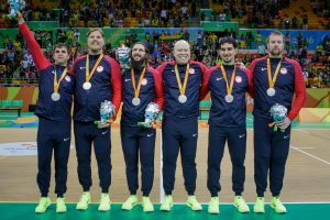 Paralympics Silver medal team (left to right) Matt Simpson, Joe Hamilton, John Kusku, Daryl Walker, Tyler Merren and Andy Jenks. Photo by Joe Kusumoto, Courtesy of USOC