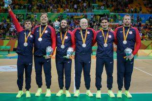 Paralympics Silver medal team (left to right) Matt Simpson, Joe Hamilton, John Kusku, Daryl Walker, Tyler Merren and Andy Jenks. Photo by Joe Kusumoto, Courtesy of USOC