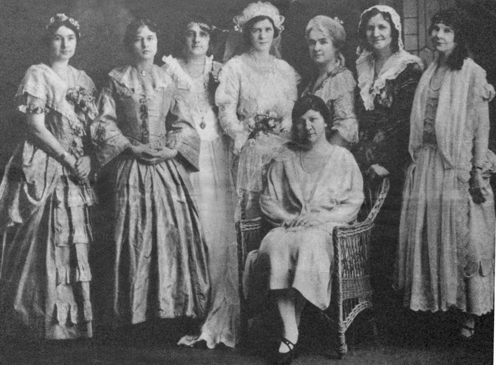 "In 1926, a group of women from the Wayne Ladies' Literary Club presented a play titled ""Mrs. Coolidge, Gives a Tea"" with each of the women dressed in period costumes of a president's wife."