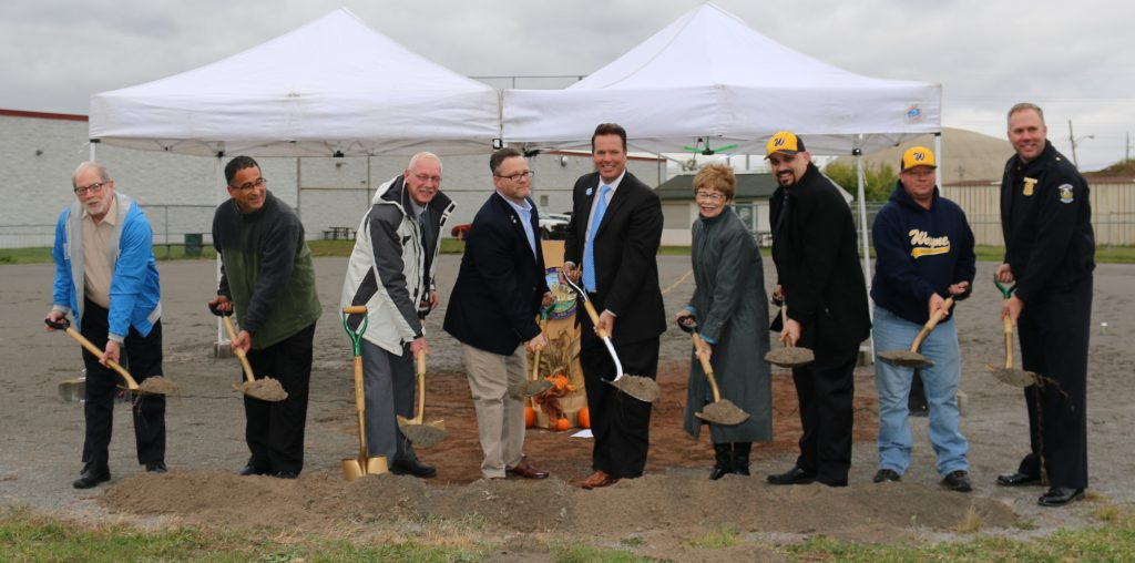 The City of Wayne officially broke ground today on the ball fields improvement project at Forest and Waltz. Pictured are Councilman Tom Porter,  DPW Assistant Director Ed Queen, Mayor Pro-Tem Anthony Miller, Councilman Chris Sanders, State Representative Robert Kosowski, Mayor Susan Rowe, Councilman John Rhaesa, Ray Lefler from the Wayne Baseball Association and Police Chief Alan Maciag. Photo by Natalie Rhaesa