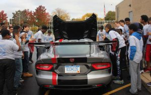 Franklin Middle Schools students check out the Dodge Viper.